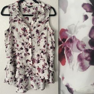Simply Vera Wang Purple Floral High Low Blouse Sm